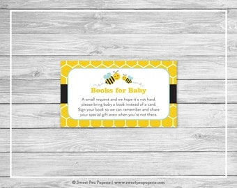 Bumble Bee Baby Shower Book Instead of Card Insert - Printable Baby Shower Books for Baby - Bumble Bee Baby Shower - Books for Baby - SP138