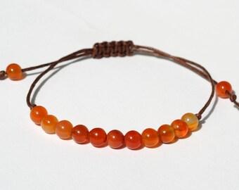 Carnelian bracelet Gemstone bracelet for Best Friend gift Carnelian stone Wax Cord bracelet Healing bracelet Thread Bracelet Healing stones