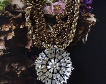 Vintage Floral Rhinestone Necklace