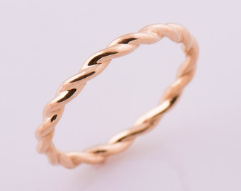Braided Wedding Ring, 14K / 18K Solid Gold Ring, Rose Gold Wedding Band, Rope Ring, Braided Gold Band, Stcking Ring, Twisted Gold Ring
