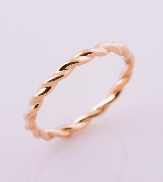 Goldring ehering  Geflochtene Ehering Solid Gold Ring 14K / 18K Rose Gold