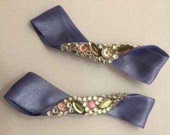 2 Crystal and ribbon hair clips