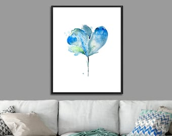 Flower wall art, blue wall decor, blue artwor, floral decor, watercolor flower painting - 43