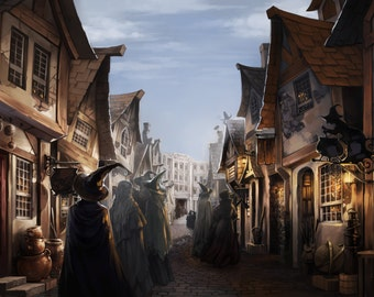 Nice Harry Potter Hogsmeade Daytime Wall Mural