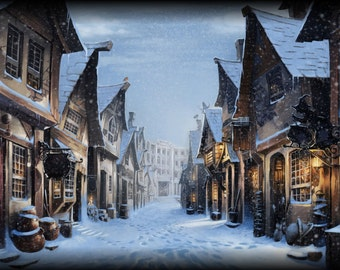Harry Potter Hogsmeade Winter Scene Wall Mural