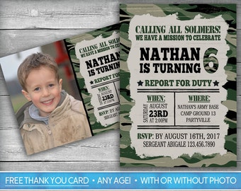 Camouflage Invitation | Army Invitation | Military Invitation | Camo Invite | Military Invite | Tank | Army Party Invite | Photo Invitation