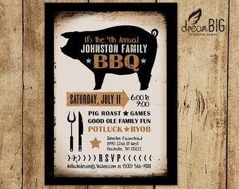 BBQ - Pig Roast - Summer Party Invite - Printable - Custom Digital File