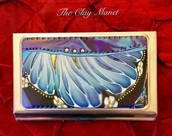 Floral Abstract Polymer Clay Cane  Business Card Holder