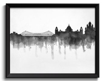 Black White Grey Kolkata Skyline India Cityscape Art Print Poster Watercolor Painting