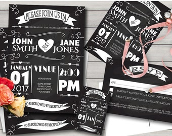 Printed Rustic Chalkboard Wedding Invitation Set, Wedding Invitation Suite, Chalkboard Invites, Rustic Wedding Set, Printed Wedding Suite