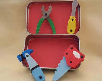Altoids tin, Pocket Toy, tool-shaped erasers