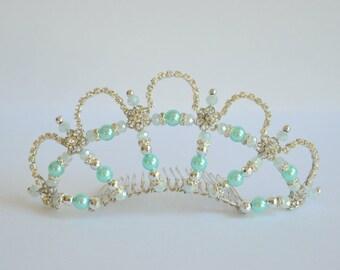 Aqua blue silver rhinestone handmade crystal tiara, bridal tiara, dancer tiara, prom queen tiara, wedding tiara, hens tiara