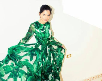 AVAILABLE  !!! Banana# leaf# made to order# chiffon#fabric #dress available also in floral print #