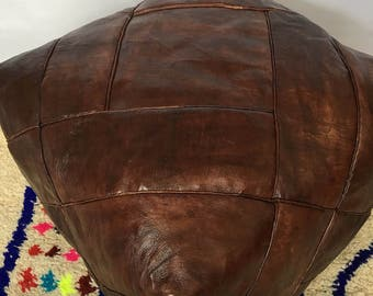 LARGE Moroccan Contemporary, Luxurious design,  100% Leather, Hand Stitched Square  Pouffe Chocolate/UNSTUFFED
