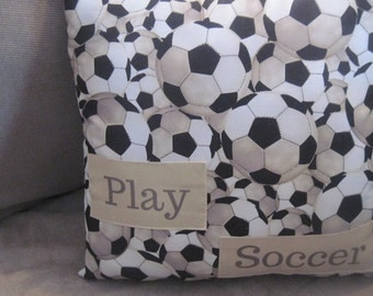 sports pillow, soccer pillow, personalized soccer pillow, soccer decor, soccer throw pillow,