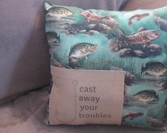 trout fishing pillow, fish pillow, fishing gifts, fishing decor pillow, hunting gifts for men, gifts for men