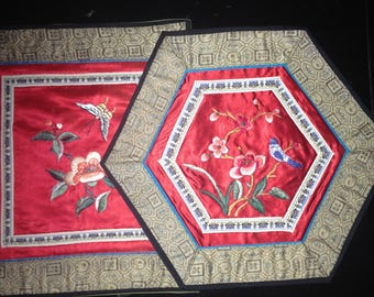 Asian Chinese silk and rayon embroidered placemats/Asian Chinese hexagon Placemat/Silk embroidered placemat set of 2