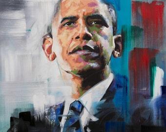 "Barack Obama, Original Painting, 30"", 40"", Art, Oil, President, USA, Worldwide Shipping, Richard Day"