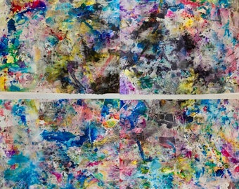 "Four-panel series of 11"" x 15"" original abstract paintings"