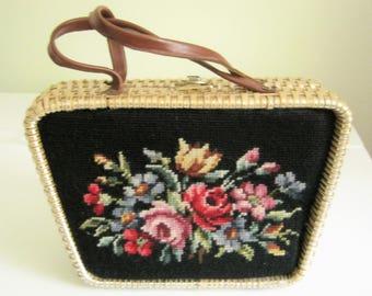 Stylecraft Wicker Needlepoint Purse*1950's Handbag*Leather Handles*Vinyl Lining*Stylecraft Miami*Hong Kong*Retro Purse*Black Floral