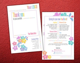 Thank You Card * Return Exchange Policy * Floral Design * Clothing Care * Home Office Approved Fonts & Colors