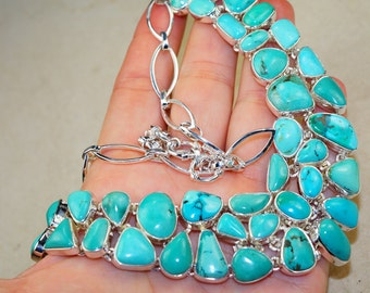 Fabulouse Genuine Santa Rosa Turquoise set in Solid 925 Sterling Silver Necklace by Silver Trend