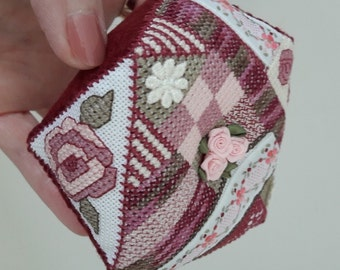 Rose Biscornu Pincushion cross stitch pattern designed by Cherry Parker