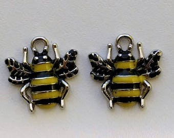 Yellow & Black Bumble Bee Charms (2)