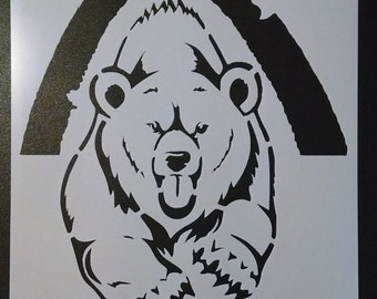 Grizzly Bear Running Out Of Cave Custom Stencil FAST FREE SHIPPING
