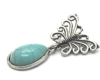 Butterfly and Turquoise gemstone pendant.