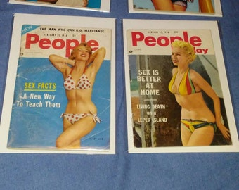 "PEOPLE TODAY 1950s pocket magazine  6"" x 4"" lot of 4"