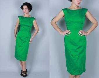 Vintage 1950s Dress | Lilli Diamond Emerald Green Sheath Dress | Small