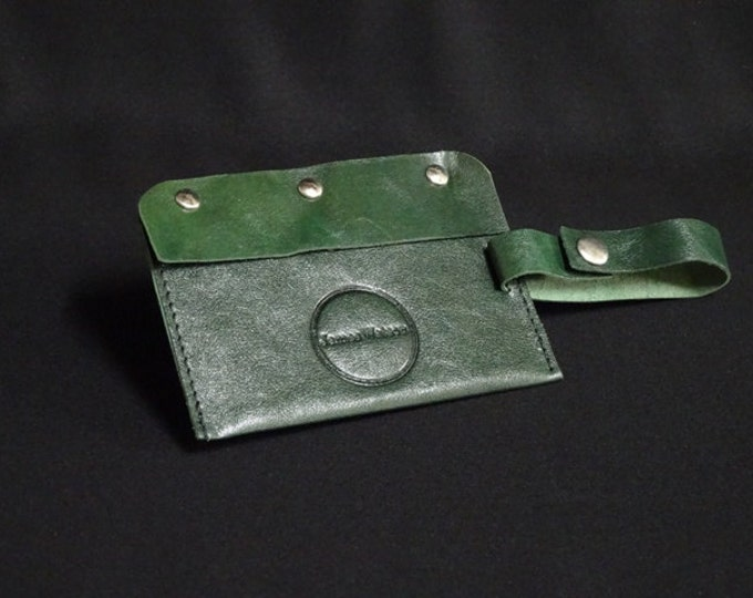 Travel Luggage Tag - Aquatic Green - Kangaroo leather - Handmade - James Watson