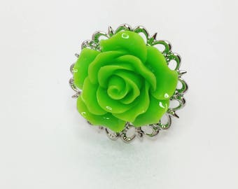 Green Rose Ring Green Bridesmaid Gift Adjustable Rose Ring Green Wedding Gift Light Green Bridal Jewellery Filigree Ring Flower Girl Gift