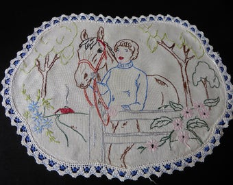Vintage Linen Hand Embroidered Table Centre Doily with Lace Edge ~ Horse and Rider