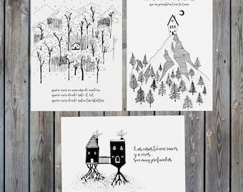 Set of 3 illustrations: the houses we inhabit II