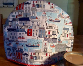 Tea cosy, Tea cozy in a harbour seaside fabric  print with boats, lighthouses and seagulls, will fit a four to six cup teapot.