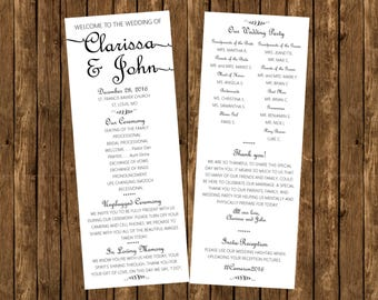 Digital File Only! Simple Wedding Program, Elegant Wedding, Black and White Wedding Program, Custom Wedding Program, Rustic Wedding Program,