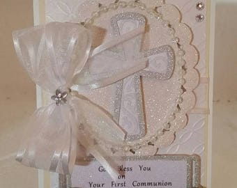 Stunning handmade, handcrafted white on white First Communion Card