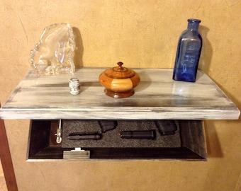 "24"" Distressed Hidden Drop Down Tactical Wall Shelf with Secret Compartment For Guns, Jewelry Valuables Prescription Concealment Furniture"