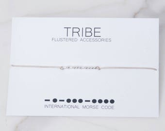 SALE Tribe Gift, Morse Code Bracelet, Morse Code Jewelry, Tribe Gift, Best Friends Gift, Unique Bridesmaids Gifts, Tribe Bracelet,