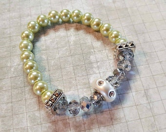 Beaded Bracelet ~ Light Green Pearl Bracelet ~ Pearl Stretch Bracelet With Silver Focal Bead ~ Rhinestone Stretch Bracelet ~ Gifts for her