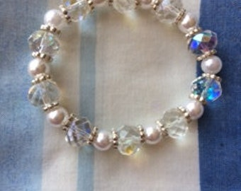 Faux pearl and crystal bead bracelet