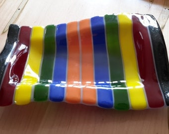 Fused glass wavy tray multi colored stripes