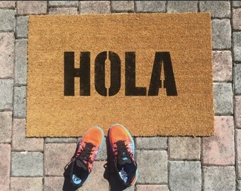 Items Similar To Hola Door Mat Hello In Spanish Welcome