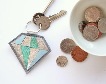 Suede Leather Keychain // Bag Charm // Gift for Her // Leather Key Ring // Metallic Leather Gold Diamond Keychain // Gift for Women