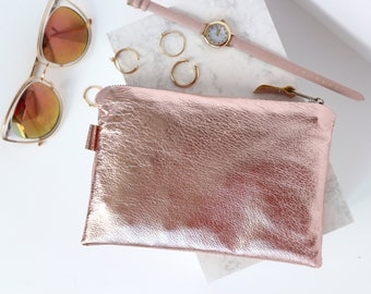 Rose Gold Leather Cosmetic Bag // Metallic Leather Clutch // Leather Bag // Small Leather Pouch // Bridesmaid Gift // Metallic Leather