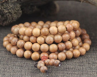 8mm Natural Taxus Chinensis Wood Beads Light Stripe Beads Loose 108 Mala Beads Buddhism Prayer Mala Beads