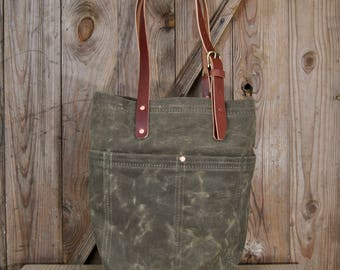 Market Tote - Field Tan, Waxed Canvas Bag, market bag, tote bag, purse, luggage, shoulder bag, handbag