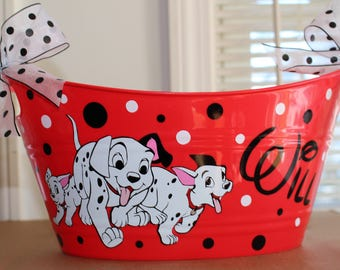101 Dalmatians Basket Personalized Bin, Waste Basket, Storage Bin, Toy box - Polka dots and bows made with Vinyl
